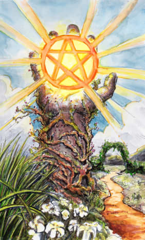 The Ace of Pentacles is about new beginnings. You are making your first steps toward financial freedom. You're looking for a new job or a new financial venture. If you persevere you can find your way to the Ten of Pentacles