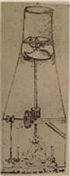 Leonardo's drawing of a convection meat roasting spit