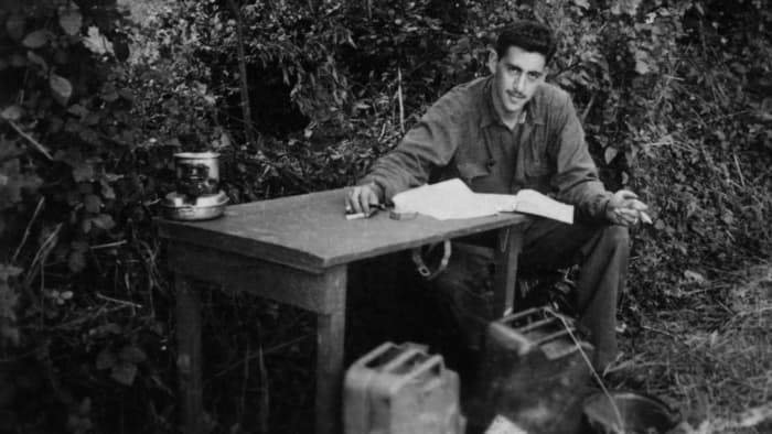 Salinger in the summer of 1944. He would write whenever he had a chance to himself. During his campaign through Europe Salinger continued writing, carrying a portable typewriter in his jeep.