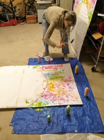 Here you can see how we splattered the foam boards with the acrylic craft paints.