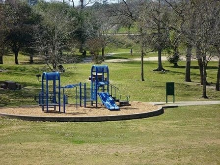 Children's playground in bowl of Spotts Park