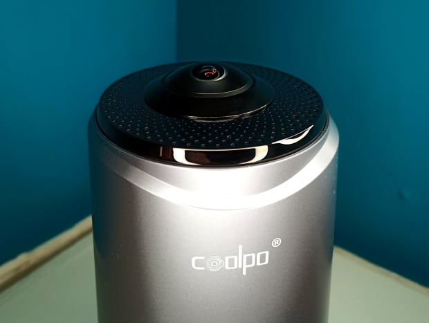 Fisheye lens and microphones are positioned at the top of the Pana