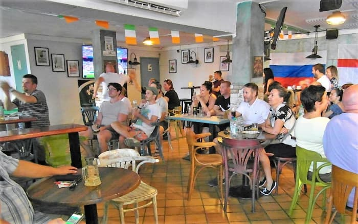 Fans enjoy watching the football in Paddy's Anchor.