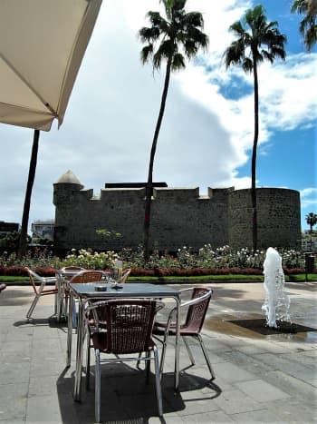 Tables with a view at Bar Terraza, Castillo de la Luz.