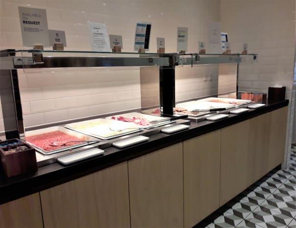 The hot breakfast buffet at Holiday Inn Express London Heathrow Terminal 4.