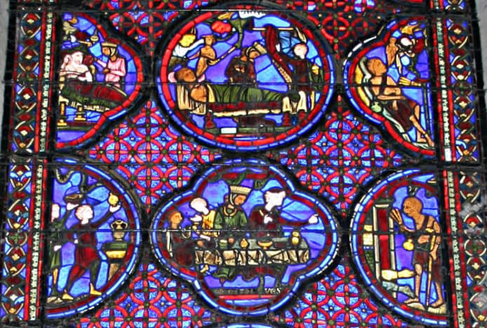 Detail of an early 13th century stained glass window in Bourges Cathedral ambulatory.