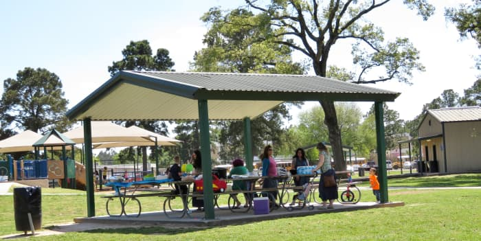 One of two covered picnic pavilions