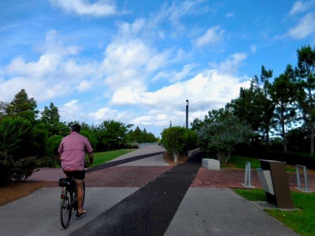 Biking through Crescent Park with a friend.