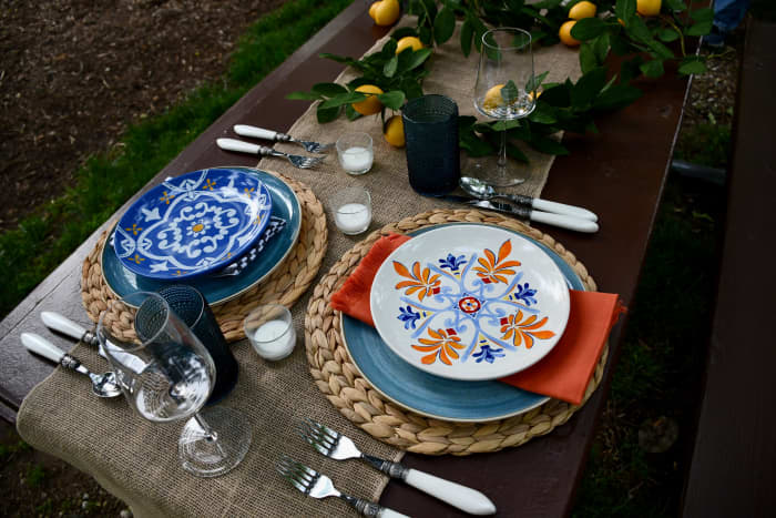 Here is what the table collection looks like before any food or drink is added. The Adoro Amalfi set has a lot of color, which will liven up your event. There are different colored plates and napkins.