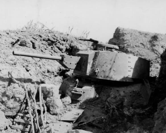 The Japanese defenders used tanks as mobile pillboxes