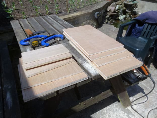 All the main pieces cut to size from the 12mm plywood sheet.