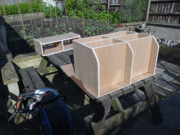 Laying the units over 4mm plywood to mark-out and cut the backs to size.