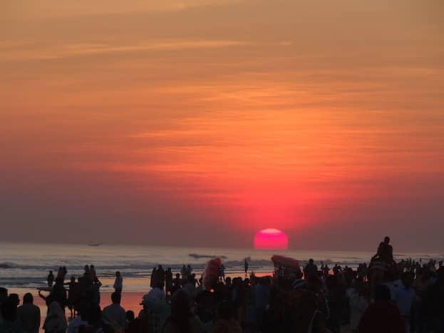 An evening scene at Puri Beach
