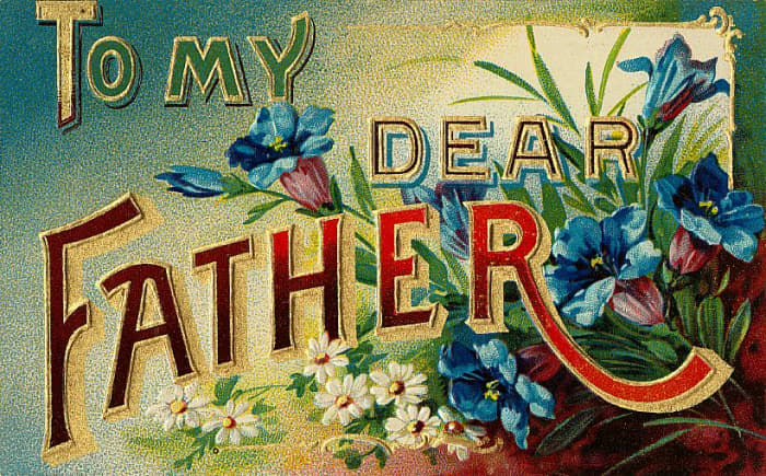 Free vintage printable greeting cards for Father's Day: To My Dear Father