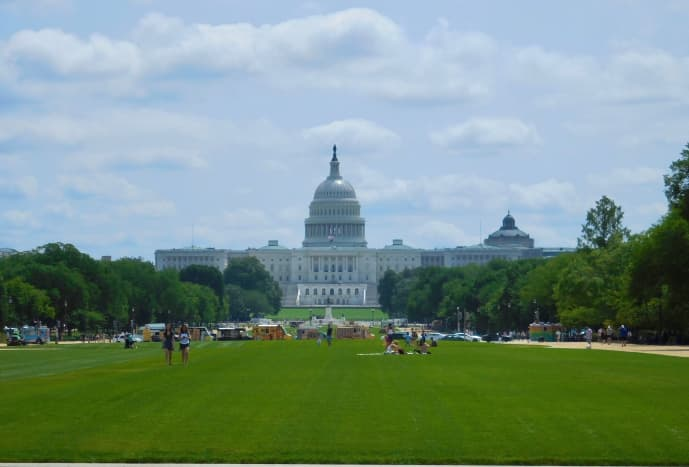 View of the United States Capitol from the National Mall.