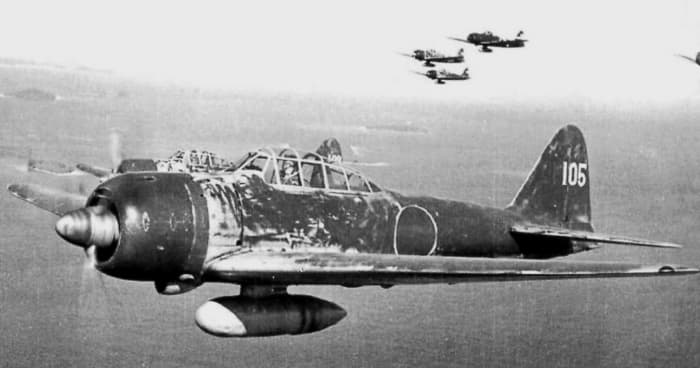 Hiroyoshi Nishizawa, 87 air victories, flying his Zero over the Solomon Islands, 1943.