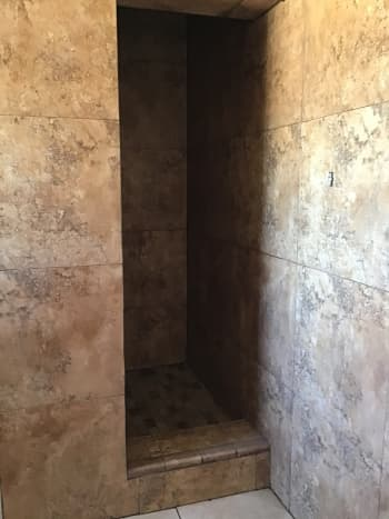 tiled walls and shower