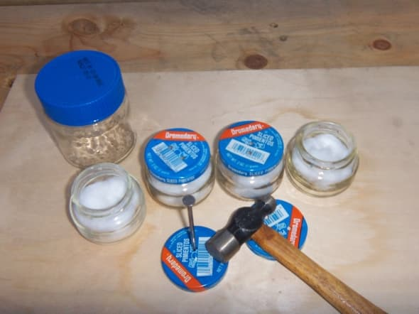 Gather Supplies; Hammer Holes in Lids