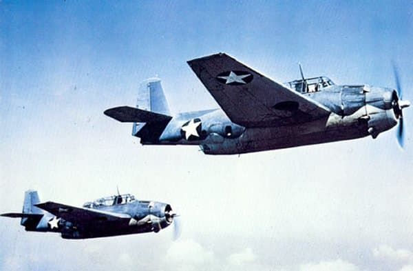 Two U.S. Navy Grumman TBF-1 Avenger torpedo bombers in flight, in 1942. It would prove to be the best torpedo plane of the Second World War. Only six Avengers were available for the Battle of Midway. All were based on Midway Island.