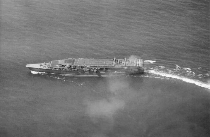 The massive Japanese carrier Kaga would be sent to the bottom of the Pacific Ocean by dive-bombers from the USS Enterprise led by Air Group commander Wade McClusky.