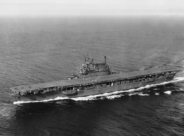USS Enterprise (CV-6) at sea in 1945. Unlike Japanese carriers all three American carriers at Midway were equipped with radar which could detect enemy aircraft up to 30,000 ft with a range of over 100 miles