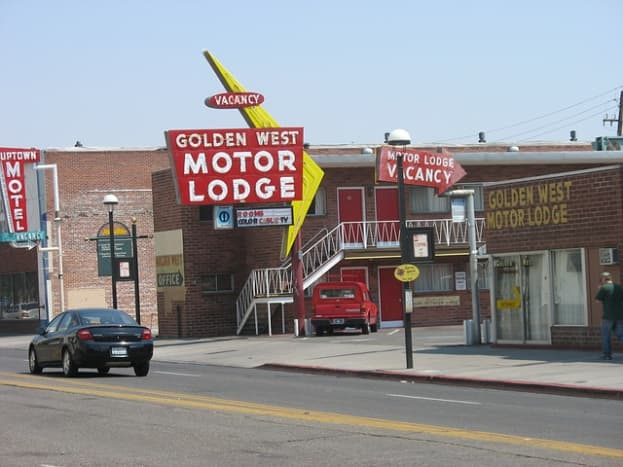 Well maintained retro motels and motor courts add to the charm of Reno, Nevada.