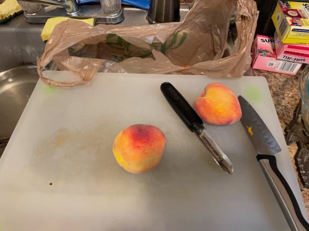Most peach recipes call for the peaches to be peeled. You can do this by using a regular vegetable peeler, boiling the peaches for a few minutes and then dunking them in ice water, or by peeling the skin by hand.
