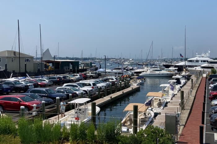 The Wharf area, lots of boats and cars