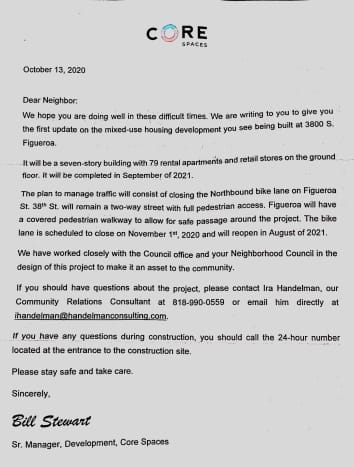 Letter sent to my mom from developers.