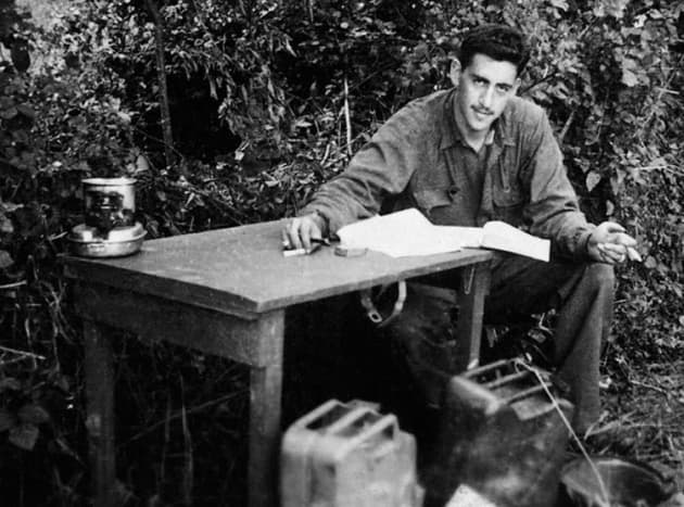 Salinger writing The Cather in the Rye during the Second World War. The main character Holden Caulfield was shaped in part by his experiences during the war.