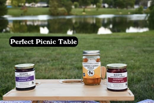 By the perfect picnic table, I mean the perfect mini picnic table. A table like this will help you out when in a bind. Sometimes you have things that don't sit well on the ground.