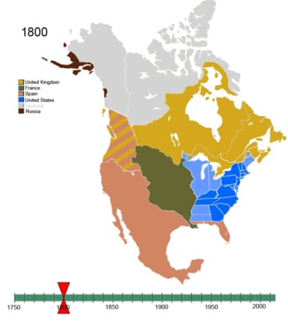 Non-Native American use and claim to lands in the New World in 1800 (public domain).
