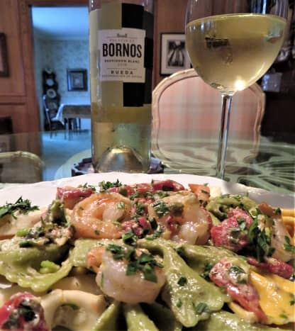 Farfalle pasta with shrimp, goat cheese, and roasted red pepper