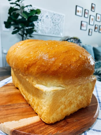 Warm and fresh homemade bread