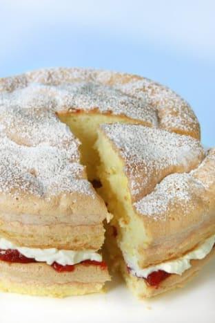 Homely cream and jam sponge.