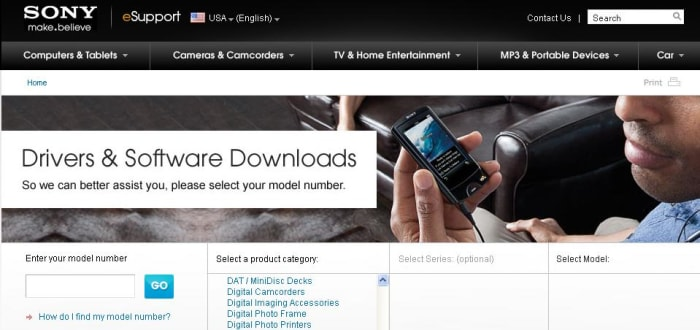 """Navigate to the Sony Drivers and Support Web page. Select """"Digital Camcorders"""" as your product category."""