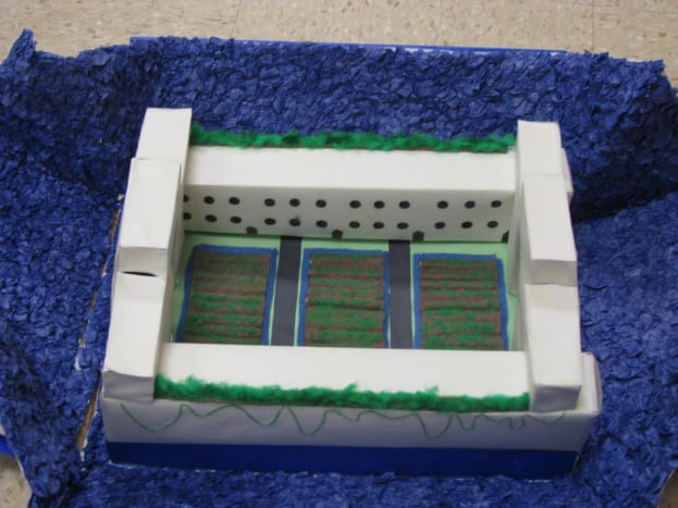 A diorama of a building that may have existed in Atlantis, made by a student in an 8th grade Language Arts class.