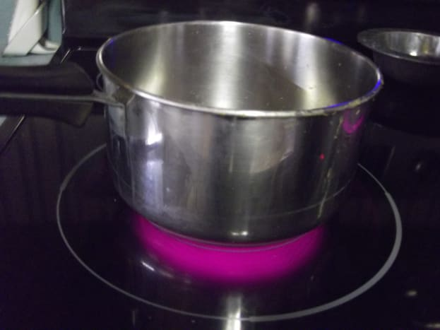 Heat the water until just bubbling