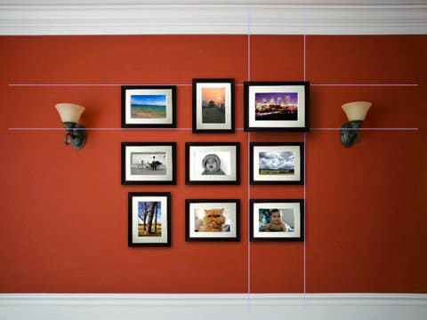 Here's an example of using similarly sized frame and starting with three in the center, then adding a row on top and bottom. In this case, the same number of frames were added to create a nice square display.