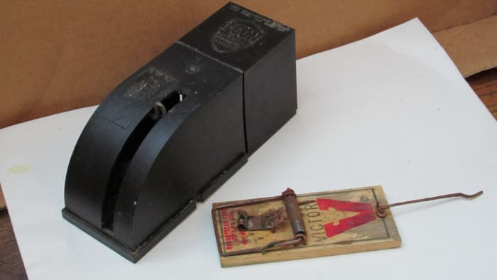 Here are an enclosed rodent snap trap and an old-fashioned snap trap. Both are very efficient and inexpensive alternatives to poison baits.