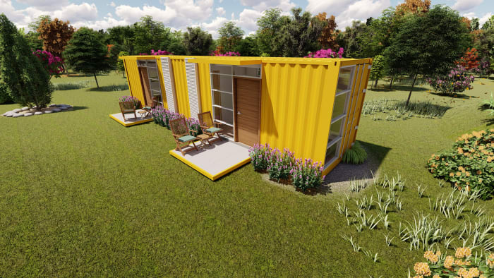 40-foot shipping container home front view.