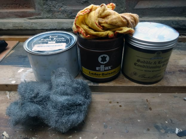 The beeswax with steel wire wool, and leather polishes with yellow dusters, I use in polishing and waxing wood and leather.