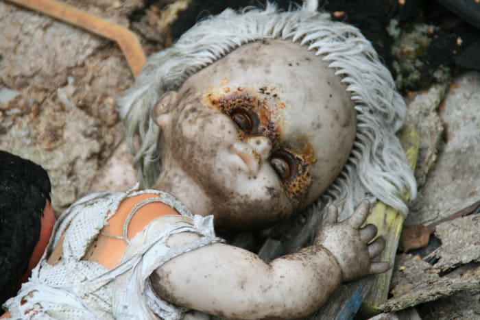 This doll was found in the Chernobyl Zone outside a kindergarten.