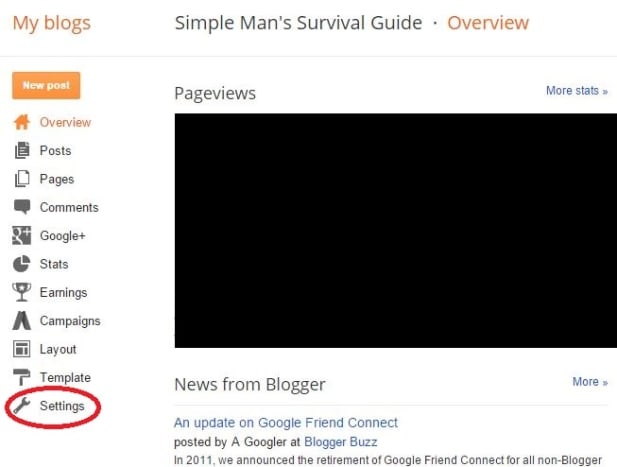 Navigate to your Blogger blog's Settings.