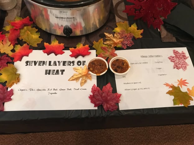 My display and allergy information at the cook-off!