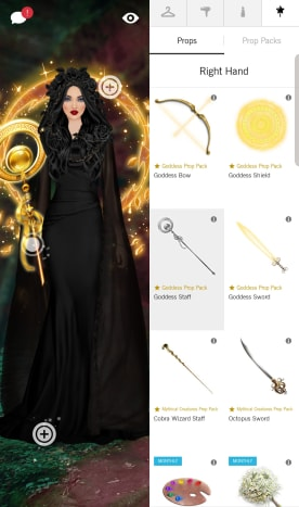 You can choose from a variety of props to accessorise your model!