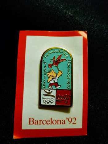 Mascot Cobi used on Coca Cola Olympic sponsor pin