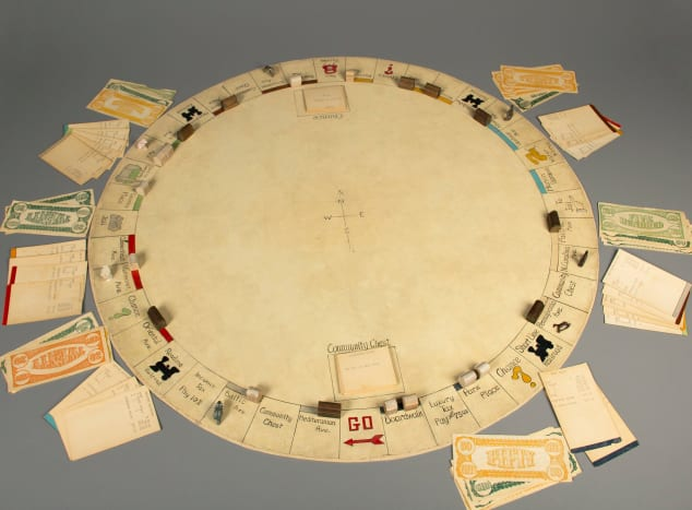Charles Darrow's round version of Monopoly, 1933. Currently held by the Strong Museum of Play.