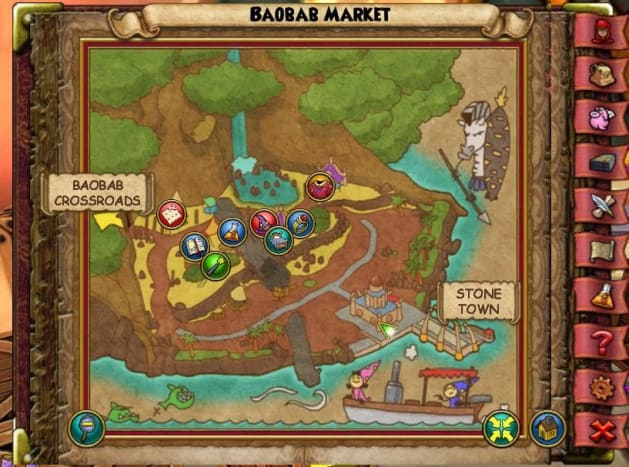 The Monkey in the Baobab Market is sitting behind the building that is by the dock, in between some boxes.