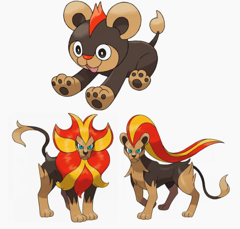 Litleo and Pyroar (both genders)